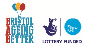 Coloured balloons for the Bristol Ageing Better logo and featuring the Lottery Funded logo