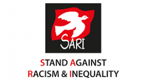 Stand Against Racism and Inequality logo white bird on red and black background