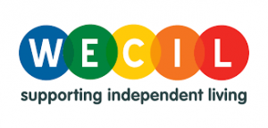multi coloured circles WECIL supporting independent living logo