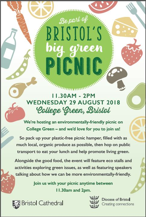 Bristol are holding a Big Green Picnic at College Green 11.30am until 2pm Wednesday 29th August all welcome