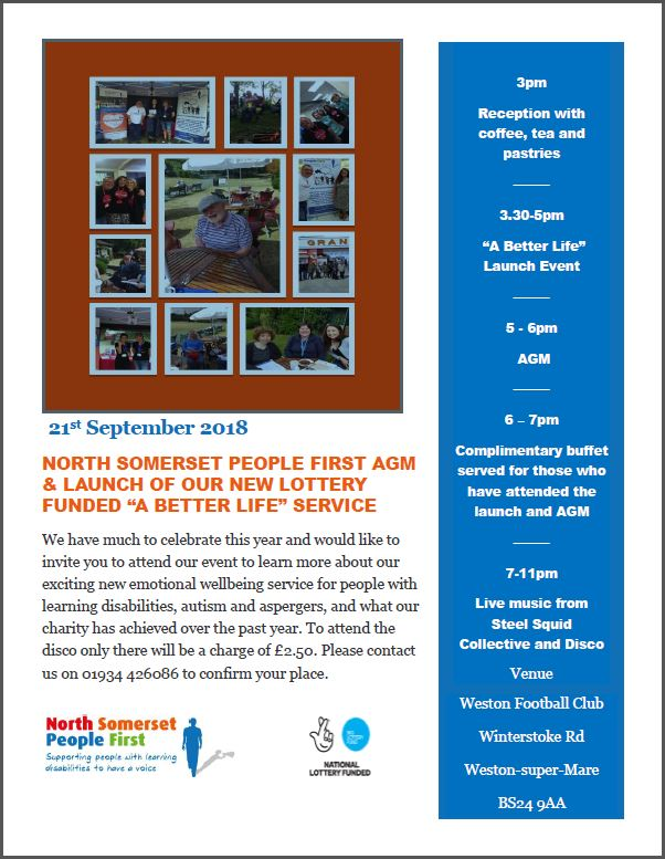 People First poster celebrating their new emotional wellbeing service for people with learning disabilities, Autism and Aspergers