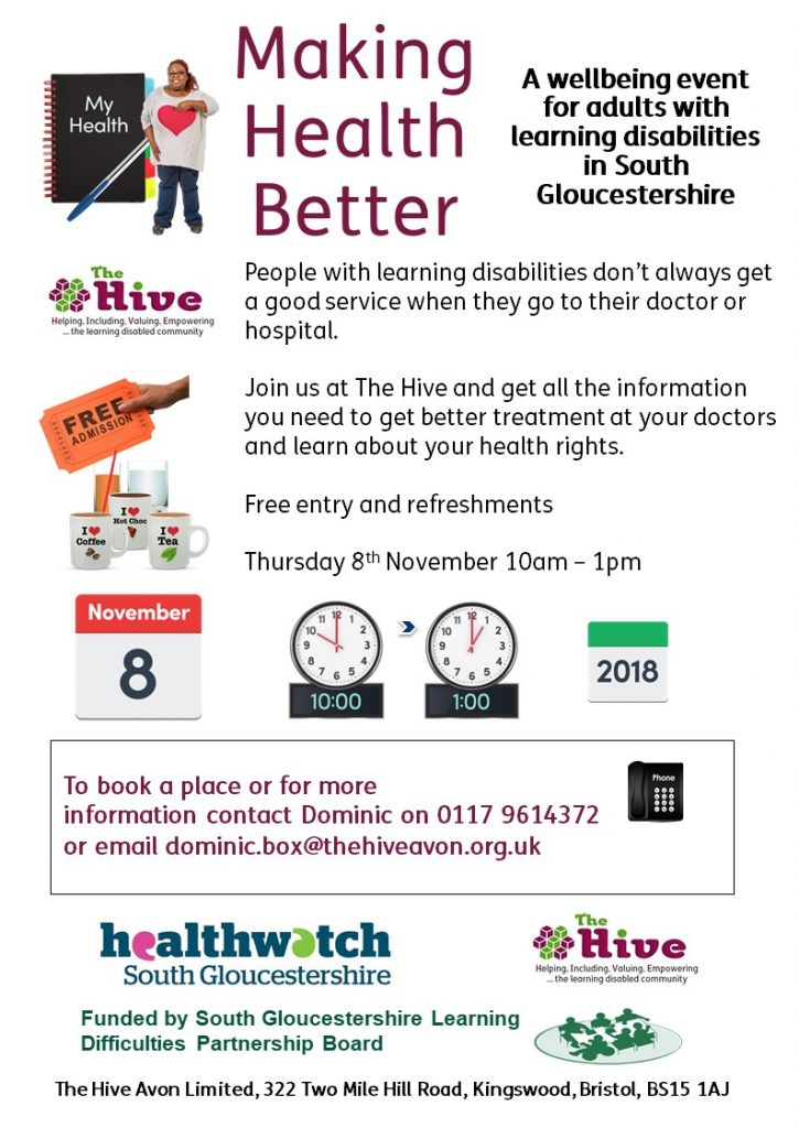 Wellbeing event for adults in South Glos with learning disabilities 8th Nov 10am til 1pm