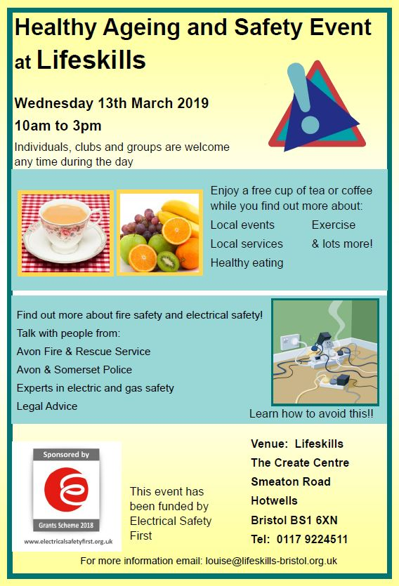 Healthy Ageing Lifeskills event 13th March 2019 at The Create Centre BS1 6XN