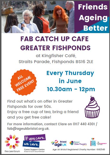 Friends Ageing Better poster advertising Thursday meeting at the Kingfisher Cafe, Fishponds at 10.30am