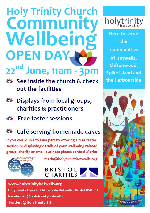 A wellbeing poster, 22nd June 2019 at Holy Trinity Church, Hotwells, Bristol.  11am until 3pm