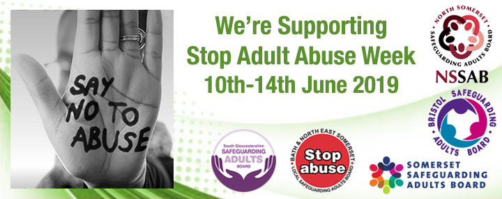 A banner for Stop Adult Abuse Week 10th-14th June 2019