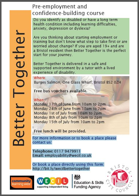 WECIL's pre-employment and confidence course.  Monday 17th June for 5 weeks.