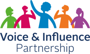 The Voice and Influence Partnership logo showing a group of colourful silhouettes of people talking
