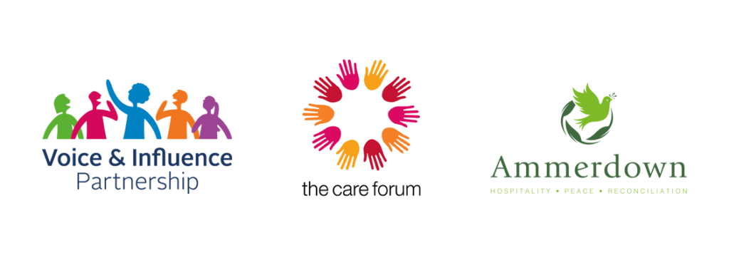 Voice and Influence Partnership logo and The Care Forum logo and The Ammerdown Centre logo in a row together